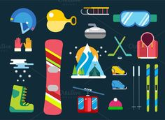 Winter sport vector icons set. Clothes Icons. $5.00
