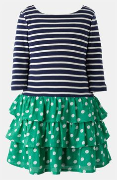 Mini Boden 'Stripy' Ruffle Dress (Toddler, Little Girls & Big Girls) | Nordstrom