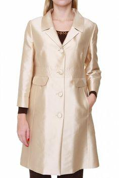 Luisa Spagnoli Silk Coat VEGLIONE, Color: Cream, Size: 44
