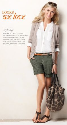 Ann Taylor Loft Roll Sleeve Shirt $39.50, Linen Boyfriend Cardigan $59.50, Cargo Shorts $44.50, Animal Polka Dot Tote $69.50