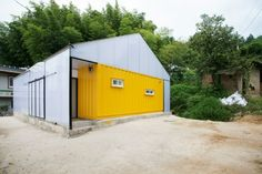 Minha Casa Container Casa container de baixo custo na Coréia do Sul - Minha Casa Container Cargo Container, Container House Plans, Container House Design, Container Buildings, Container Architecture, Cow House, Low Cost Housing, Shipping Container Homes, Shipping Containers