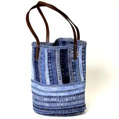 beautiful bag made from denim seams