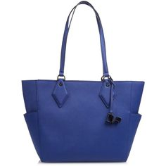 Diane Von Furstenberg Voyage BFF leather tote (415 CAD) ❤ liked on Polyvore featuring bags, handbags, tote bags, blue, genuine leather tote, leather tote purse, blue leather purse, leather handbag tote and leather handbags