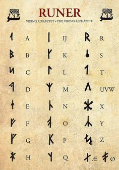 """It is more myth and fantasy to call this set of runes """"Viking"""". This set more closely resembles the extended Danish futhark – an alphabet based on the Younger Furthark with added runes to cover a complete Norse and Latin alphabet. I'm researching… Alphabet Code, Sign Language Alphabet, Alphabet Symbols, Viking Runes Alphabet, Typography Alphabet, Ancient Alphabets, Ancient Symbols, Egyptian Symbols, Alfabeto Viking"""