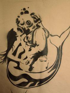 Mermaid and Deep Sea Diver Stencil on Behance