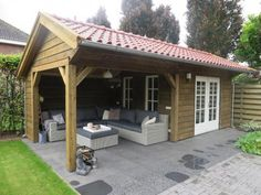 Shed/covered outdoor space combo. I love this idea. Backyard Pavilion, Backyard Bar, Backyard Sheds, Backyard Retreat, Backyard Landscaping, Outdoor Rooms, Outdoor Living, Barbacoa Jardin, Gazebos