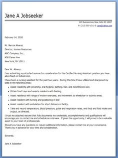 nursing assistant cover letter samples nursing college