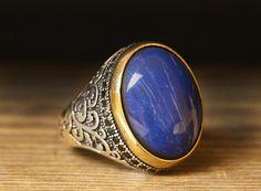 925 K Sterling Silver Man Ring Blue Lapis 10,25 US Size $49.00