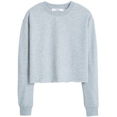 Mango Cotton Sweatshirt , Medium Grey found on Polyvore featuring tops, hoodies, sweatshirts, sweaters, sweatshirt, medium grey, ribbed crop top, crop top, sweatshirts hoodies and grey crop top
