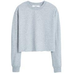 Mango Cotton Sweatshirt , Medium Grey ($30) ❤ liked on Polyvore featuring tops, hoodies, sweatshirts, sweaters, shirts, medium grey, long sleeve crop top, sweatshirts hoodies, boxy crop top and ribbed crop top