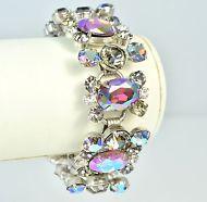 Vintage Bracelet JULIANA Wide Purple Aurora Borealis Silvertone Bridal Jewellery