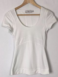 19333daa14 Adidas Stella Mccartney Athletic SS Shirt Small Stretch White Scoop Neck  Top