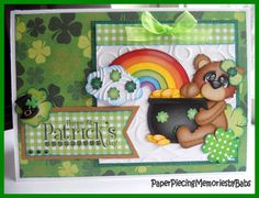 St. Patrick's Day card created by PAPER PIECING MEMORIES BY BABS using patterns from KaDoole Bug Designs.