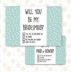 Tarjeta de Dama de Honor, Madrina y Padrino. Ideal para fiesta de antes de la boda. Carta digital, listo para imprimir. Una vez realizada la compra se