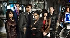 "Torchwood...(L to R) Toshiko ""Tosh"" Sato, Ianto Jones, Captain Jack Harkness (former Doctor companion), Dr. Martha Jones (former Doctor companion), Gwen Cooper, Dr. Owen Harper"