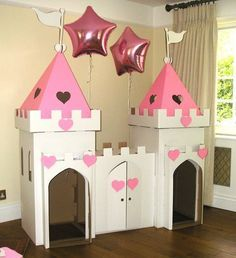 Cardboard playhouse plans Free cardboard playhouse plans for making an amazingly sturdy playhouse for toddlers using mostly free materials Complete instructions Cardboard Box Crafts, Cardboard Castle, Cardboard Playhouse, Diy Playhouse, Castle Playhouse, Cardboard Box Houses, Cardboard Toys, Cardboard Furniture, Princess Tea Party