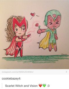 Scarlet vision. <<< MY OTP << I left AoU as Scarlet Vision trash and there's no going back