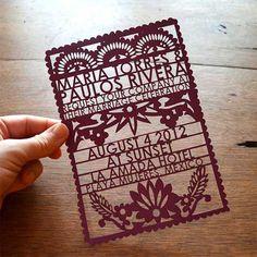 Laser-cut invitation designed to look like papel picado #papelpicado #invitation