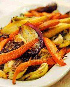 Serve these flavorful roasted vegetables from chef April Bloomfield of The Spotted Pig and The John Dory Oyster Bar with her Slow-Roasted Balsamic-Glazed Duck for a sophisticated holiday feast. Roasted Vegetable Recipes, Roasted Root Vegetables, Veggie Recipes, Vegetarian Recipes, Cooking Recipes, Veggies, Pescatarian Recipes, Cooking Ideas, Easy Recipes