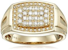 Men's 10k Yellow Gold Diamond Gents Ring (1/2cttw I-J Color I2-I3 Clarity) Size 10.5...
