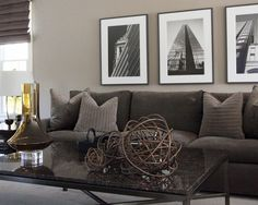 Brown Couch Gray Walls Design, Pictures, Remodel, Decor and Ideas