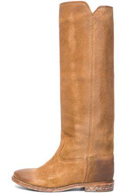 Isabel Marant Cleave Calfskin Velvet Leather Boots in Camel on shopstyle.com