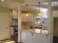 Trendy kitchen island with columns load bearing wall ideas Ideas Kitchen Island With Sink And Dishwasher, Sink In Island, Diy Kitchen Island, Kitchen Redo, Living Room Kitchen, New Kitchen, Dining Rooms, Island Bar, Design Kitchen