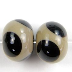 Handmade Lampwork Beads Opaque Glass Sage Green Taupe Black Dots SRA | Covergirlbeads - Jewelry on ArtFire