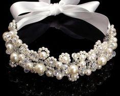 Wedding Bridal Big Pearl Crystal Headpiece with Ribbon