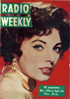 Old 1953 Film Magazine cover  poster reproduction. Picture goer Joan Collins