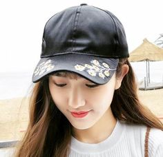 Plum blossom flower embroidered baseball cap for women uv protection sun caps