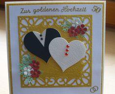 Glückwunschkarte Goldene Hochzeit von Wollzottel auf DaWanda.com