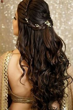 A beautiful crown braid coupled with voluminous curls and some fancy hairpins can make for a glamorous half-tie hairstyle. # indian Hairstyles 27 Effortlessly Stylish Half-tie Hairstyles We Spotted on Real brides Bridal Hair Buns, Bridal Hairdo, Bridal Hair And Makeup, Bun Hair, Open Hairstyles, Indian Hairstyles, Braid Hairstyles, Medium Hairstyles, Hairstyle Ideas