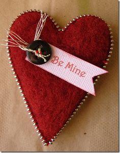 Valentine's needlefelted heart...