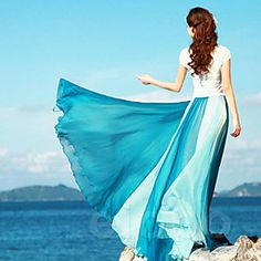 Vina Women's New Style Bohemian Chiffon Contrast Color Maxi Skirt
