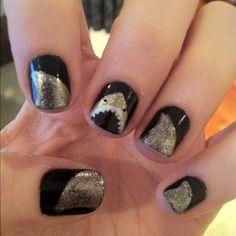 OMG perfect for shark week! Black and Gold shark nails