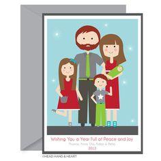 Printable New Year Card - Holiday Card, Polaroid Style, Custom Family Portrait, Family of Five