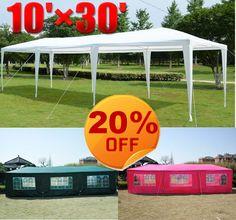 Outdoor 10' x 20' Gazebo Pop Up Party Tent Patio Wedding Canopy BBQ w Sidewalls | eBay $20