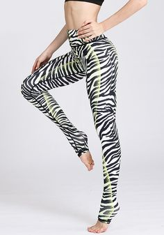 High Waist Zebra Printed Yoga Pants