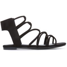 ShoeDazzle Flat Sandals Kelsie Womens Black found on Polyvore featuring shoes, sandals, black, flat sandals, toe-loop sandals, strappy sandals, black sandals and gladiator shoes