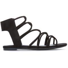 ShoeDazzle Flat Sandals Kelsie Womens Black ❤ liked on Polyvore featuring shoes, sandals, black, flat sandals, toe-loop sandals, black strappy sandals, black strap sandals, flat shoes and black gladiator sandals
