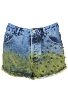 After 7 hours of grueling shipment, i am finally posting the new items we are carrying @ TOPSHOP LV! MOTO Stud Dip Dye Shorts - Shorts - Clothing - Topshop