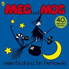 One of my favourite Halloween themed series is Meg and Mog. Here is the very first storybook in the series titled Meg and Mog. Meg the witch and Mog her cat . Mog The Cat, Swallowed A Fly, Visual Literacy, Thing 1, Penguin Books, Lectures, Child Love, Classic Books, Story Time