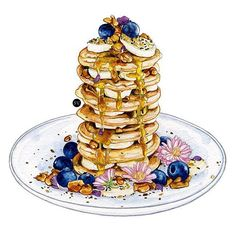 How delicious this looks ! Watercolor by Sophie Varela  -  A great recipe for breakfast : lemon vanilla poppyseed pancakes with blueberries, banana, honey walnut brittle and bee pollen.