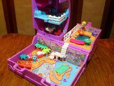 Polly Pocket -1996 Polly Pocket Surf 'n Swim Island Playset aka Polly's Treasure Chest Island - Vacation Fun