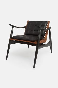 Matte Black and Walnut Atra Chair with Black Leather Cushions