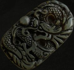 Chinese Old Jade Hand Carved  Dragon Peal Beads (XiLongZhu) Amulet Pendant QB390