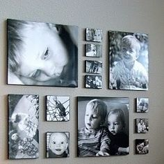 Photo arrangement- Love the idea of doing this in the hall!