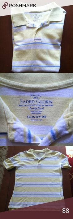 FADED GLORY POLO SHIRT Pre- owned in good condition FADED GLORY Polo shirt for boys stripes yellow, blue, and white 100% cotton size: XL (14-16) Faded Glory Shirts & Tops Polos