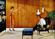Living Room, 1961. She is very proud of her wood paneled walls, I would be too.